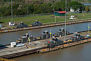 Group of locomotives at Miraflores Locks. Panama Canal, Panama City, Panama, Central America.