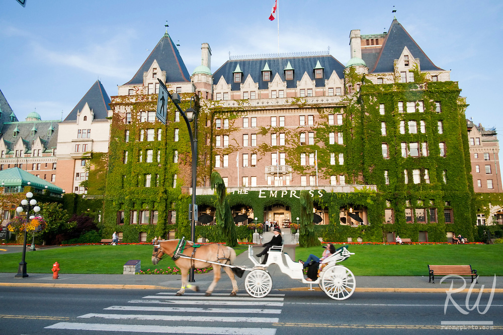 Horse Carriage Passing in Front of Empress Hotel, Victoria, B.C.