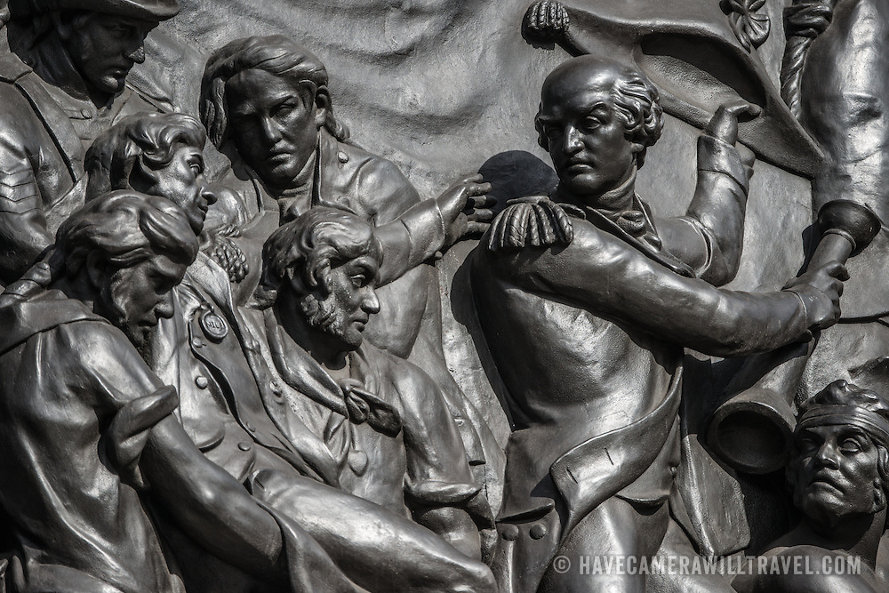 One of the panels that adorns the base of Nelson's Column in Trafalgar Square in central London.