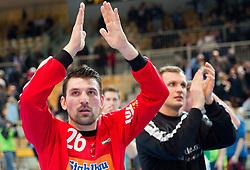 Primoz Prost of Goeppingen during handball match between RK Cimos Koper and Frisch Auf Goeppingen (GER) in 3rd Round of EHF Cup 2012/2013, on February 23, 2013 in Arena Bonifika, Koper, Slovenia. Goeppingen defeated Cimos Koper 39-36. (Photo By Vid Ponikvar / Sportida)