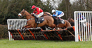 Leighton Aspell riding McKenzie's Friend clears an early hurdle before winning the J H Builders National Hunt Novices Hurdle at Plumpton Racecourse - 13 Dec 2015