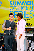 "Singer Robin Thicke and Robin Roberts appear at the 2007 ""Good Morning America"" Summer Concert Series in Bryant Park on Friday, June 8, 2007 in New York."