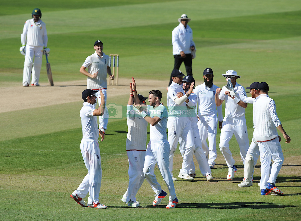 England's James Anderson celebrates after bowling Pakistan's Yasir Shah caught by Alex Hales during day five of the 3rd Investec Test Match at Edgbaston, Birmingham.