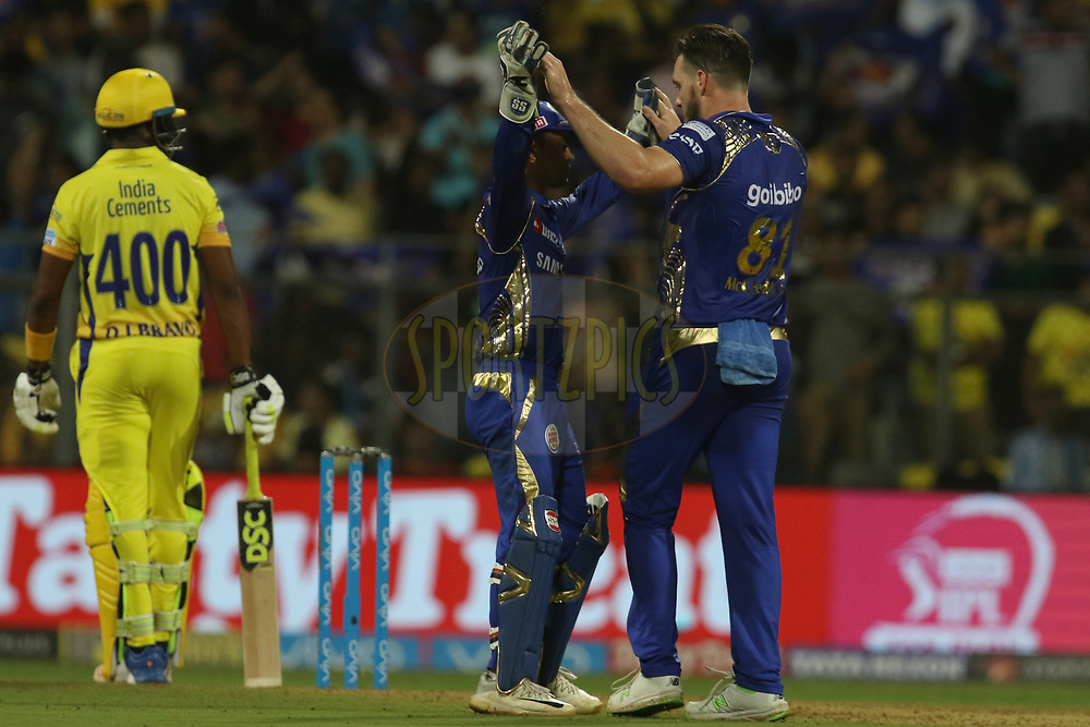 Mitchell McCleneghan of the Mumbai Indians celebrates the wicket of Harbhajan Singh of the Chennai Superkings  during match one of the Vivo Indian Premier League 2018 (IPL 2018) between the Mumbai Indians and the Chennai Super Kings held at the Wankhede Stadium in Mumbai on the 7th April 2018.<br /> <br /> Photo by Faheem Hussain / IPL / SPORTZPICS