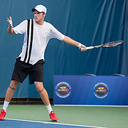 August 16, 2014, New Haven, CT:<br /> Jeff Dadamo hits a forehand during the 2014 US Open National Playoffs Men's final match against Sanam Singh on day four of the 2014 Connecticut Open at the Yale University Tennis Center in New Haven, Connecticut Monday, August 18, 2014.<br /> (Photo by Billie Weiss/Connecticut Open)