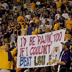 19 September 2009: LSU Tigers fans hold up a sign during a 31-3 win by the LSU Tigers over the University of Louisiana-Lafayette Ragin Cajuns at Tiger Stadium in Baton Rouge, Louisiana.