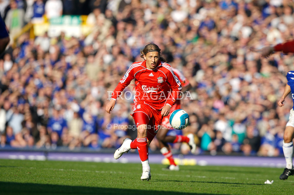 Liverpool, England - Saturday, October 20, 2007: Liverpool's Lucas Levia in action against Everton during the 206th Merseyside Derby match at Goodison Park. (Photo by David Rawcliffe/Propaganda)