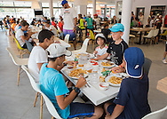Mouratoglou Tennis Academy M.T.A Sophia Country Club, Biot, FRA.<br /> juniors and coaches  at lunchtime in the restaurant<br /> <br />  - Mouratoglou Tennis Academy  -  -   Sophia Country Club, - Biot -  - Frankreich  - 26 July 2016. <br /> &copy; Juergen Hasenkopf