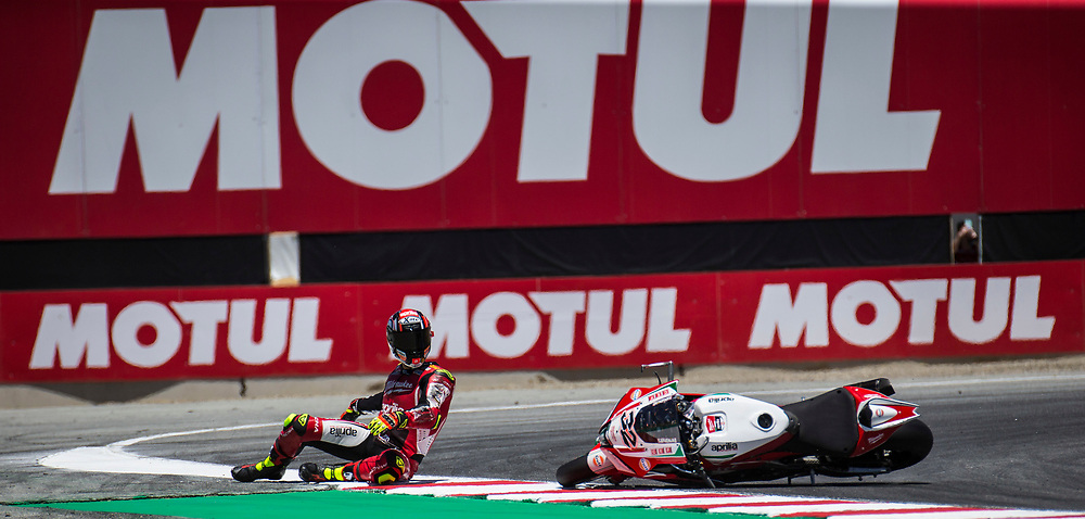Jun 23  2018  Monterey, CA, U.S.A  # 32 Lorenzo Salvadori take a fall coming into turn 11 during the Motul FIM World Superbike Race # 1 at Weathertech Raceway Laguna Seca  Monterey, CA  Thurman James / CSM