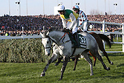 The Grey Vintage Clouds and jockey Danny Cook head to the start for the 5:15pm The Randox Health Grand National Steeple Chase (Grade 3) 4m 2f during the Grand National Meeting at Aintree, Liverpool, United Kingdom on 6 April 2019.