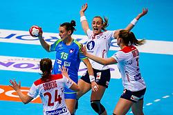 02-12-2019 JAP: Slovenia - Norway, Kumamoto<br /> Second day 24th IHF Womenís Handball World Championship, Slovenia lost the second match against Norway with 20 - 36. / Teja Ferfolja #15 of Slovenia, Silje Katrine Waade #8 of Norway