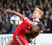 Dundee's Greg Stewart and Aberdeen's Shaleum Logan battle for the ball  - Dundee v Abderdeen, SPFL Premiership at Dens Park<br /> <br />  - &copy; David Young - www.davidyoungphoto.co.uk - email: davidyoungphoto@gmail.com