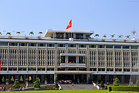 The front entrance to the Independence Palace, Saigon, Ho Chi Minh City, Vietnam.