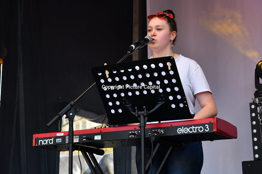 Basking in London - Josh Gleaves performs at the Feast of St George to celebrate English culture with music and English food stalls in Trafalgar Square on 20 April 2019, London, UK.