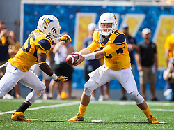 Sep 3, 2016; Morgantown, WV, USA; West Virginia Mountaineers quarterback Skyler Howard (3) hands the ball off to West Virginia Mountaineers running back Justin Crawford (25) during the first quarter against the Missouri Tigers at Milan Puskar Stadium. Mandatory Credit: Ben Queen-USA TODAY Sports