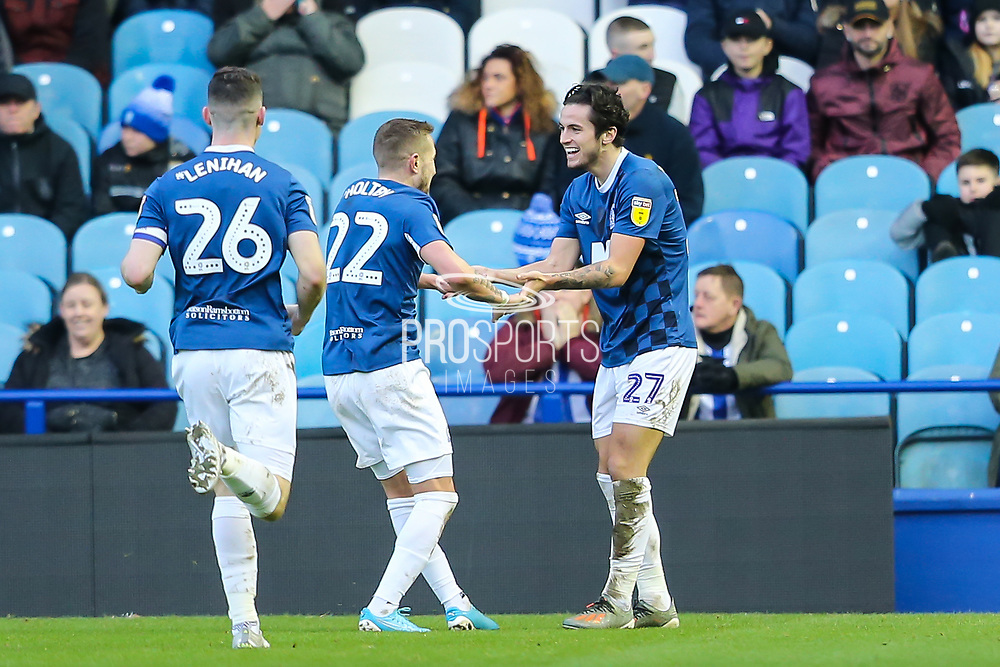 Blackburn Rovers midfielder Lewis Travis (27) celebrates with Blackburn Rovers midfielder Lewis Holtby (22) after scoring his team's second goal during the EFL Sky Bet Championship match between Sheffield Wednesday and Blackburn Rovers at Hillsborough, Sheffield, England on 18 January 2020.