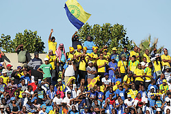 22042018 (Durban) Fans having fun during Maritzburg United FC make their way to the final of the Nedbank when playing against Mamelodi Sundowns FC at the Harry Gwala Stadium in Pietermaritzburg, KZN yesterday.<br /> Picture: Motshwari Mofokeng/ANA