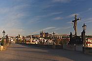 Vltava River, Prague Castle and St. Vitus, Cathedral at dusk, Prague, Czech Republic