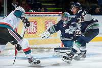 KELOWNA, CANADA -FEBRUARY 10: Danny Mumaugh #1 of the Seattle Thunderbirds defends the net against the Kelowna Rockets on February 10, 2014 at Prospera Place in Kelowna, British Columbia, Canada.   (Photo by Marissa Baecker/Getty Images)  *** Local Caption *** Danny Mumaugh;