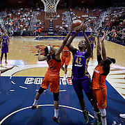 UNCASVILLE, CONNECTICUT- MAY 26: Jantel Lavender #42 of the Los Angeles Sparks has her shot blocked by Jasmine Thomas #5 of the Connecticut Sun during the Los Angeles Sparks Vs Connecticut Sun, WNBA regular season game at Mohegan Sun Arena on May 26, 2016 in Uncasville, Connecticut. (Photo by Tim Clayton/Corbis via Getty Images)