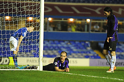 Bristol Rovers' Mark McChrystal and Bristol Rovers' John-Joe OToole cut dejected figures on the final whistle - Photo mandatory by-line: Joe Meredith/JMP - Tel: Mobile: 07966 386802 14/01/2014 - SPORT - FOOTBALL - St Andrew's Stadium - Birmingham - Birmingham City v Bristol Rovers - FA Cup - Third Round