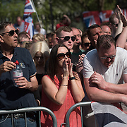 Thousands of British Nationalists and Football Lads Alliance, a demonstration for a 'Day of Freedom' of speaks rally at the Whitehall on 6 May 2018, London, UK.