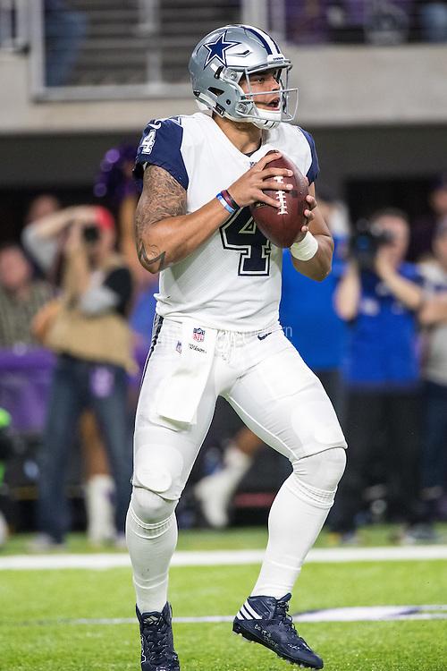 Dec 1, 2016; Minneapolis, MN, USA; Dallas Cowboys quarterback Dak Prescott (4) during a game between the Dallas Cowboys and Minnesota Vikings at U.S. Bank Stadium. The Cowboys defeated the Vikings 17-15. Mandatory Credit: Brace Hemmelgarn-USA TODAY Sports