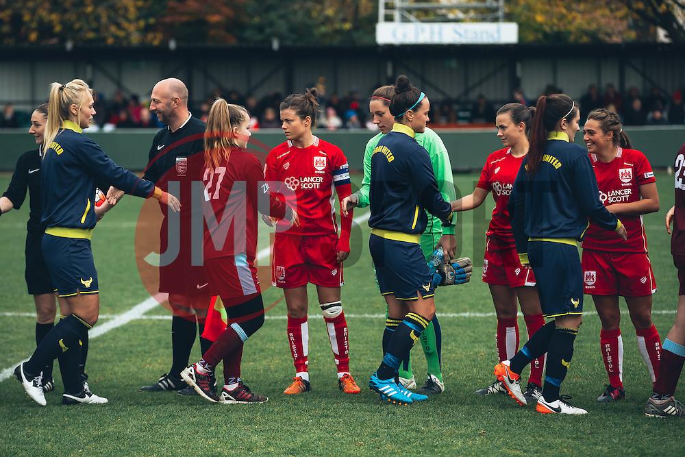 Teams line up - Rogan Thomson/JMP - 06/11/2016 - FOOTBALL - The Northcourt Stadium - Abingdon-on-Thames, England - Oxford United Women v Bristol City Women - FA Women's Super League 2.