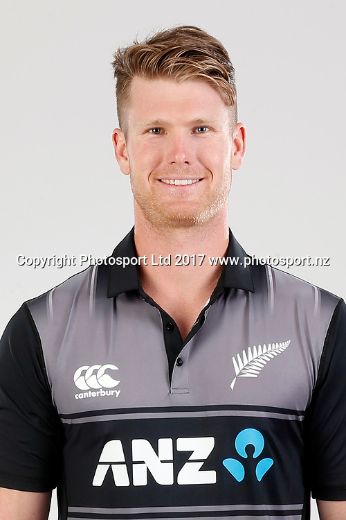 James Neesham, T20 Headshot, New Zealand Cricket. Black Caps headshot and portrait session. Pullman Hotel. Auckland, New Zealand. Thursday 14 September 2017. © Copyright image: William Booth / www.photosport.nz