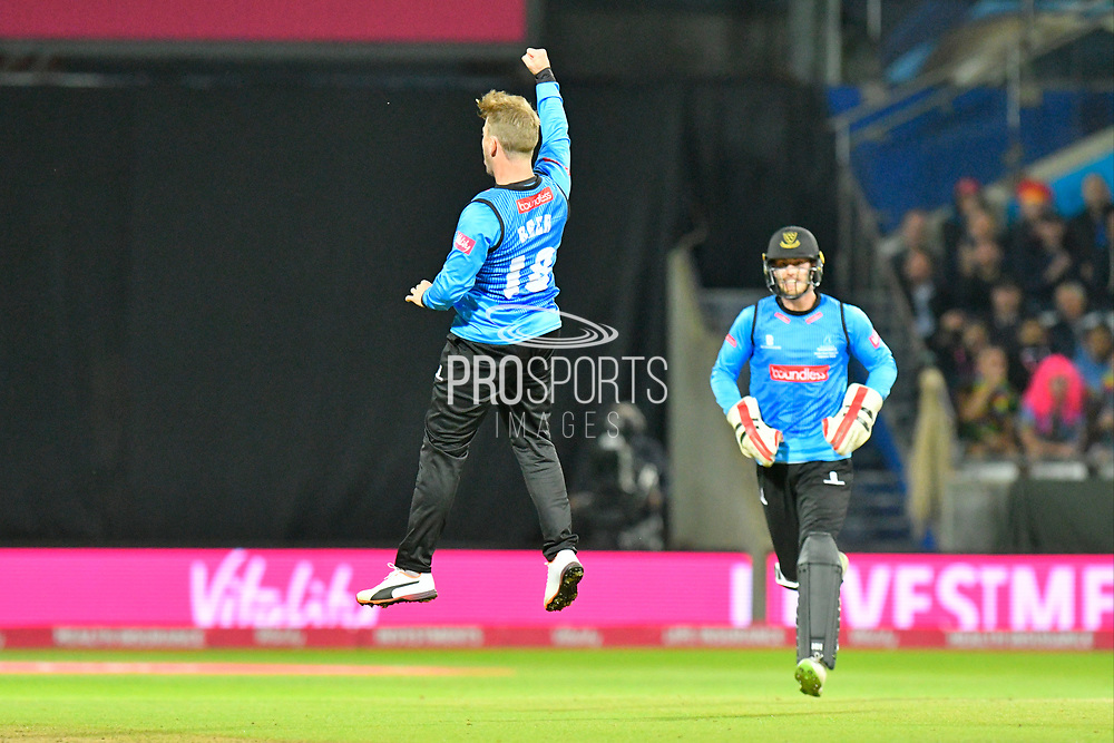 Wicket - Will Beer of Sussex celebrates taking the wicket of Tom Fell of Worcestershire during the final of the Vitality T20 Finals Day 2018 match between Worcestershire Rapids and Sussex Sharks at Edgbaston, Birmingham, United Kingdom on 15 September 2018.