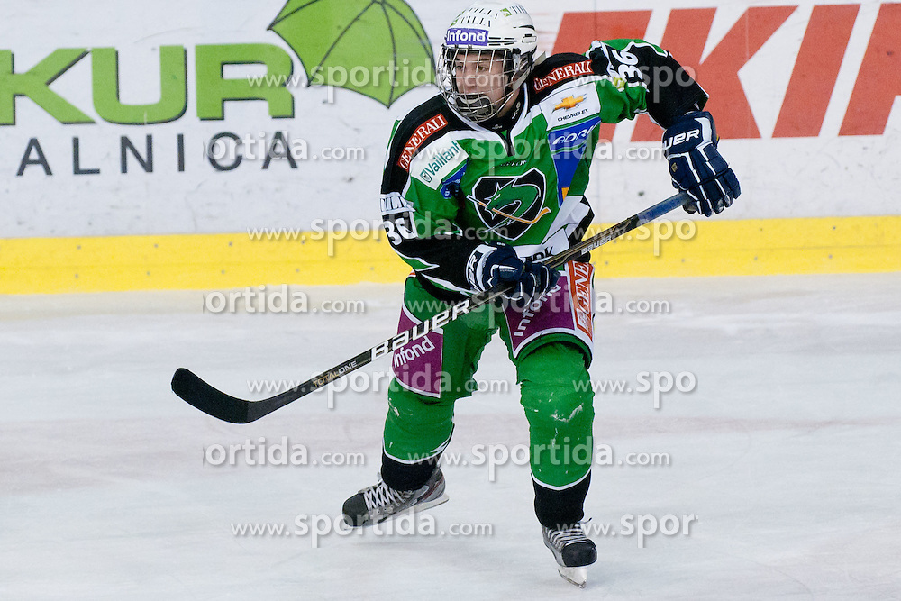 Anze Bernik (HDD Tilia Olimpija, #36) during ice-hockey match between HDD Tilia Olimpija and UPC Vienna Capitals in 31st Round of EBEL league, on December 11, 2011 at Hala Tivoli, Ljubljana, Slovenia. HDD Tilia Olimpija defeated UPC Vienna Capitals 4:0. (Photo By Matic Klansek Velej / Sportida)
