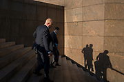 Two businessmen descend the steps at the southern end of London Bridge in Southwark, on 10th October 2018, in London, England.