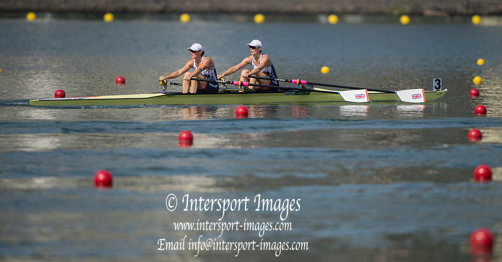 Rio de Janeiro. BRAZIL.   GBR W2X. Semi Final A/B. Bow Vicky THORNLEY and Kathrine GRAINGER. 2016 Olympic Rowing Regatta. Lagoa Stadium,<br /> Copacabana,  &ldquo;Olympic Summer Games&rdquo;<br /> Rodrigo de Freitas Lagoon, Lagoa.   Tuesday  09/08/2016 <br /> <br /> [Mandatory Credit; Peter SPURRIER/Intersport Images]