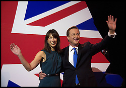 David Cameron Keynote Speech. <br /> The Prime Minister David Cameron with his wife Samantha on stage after his keynote speech to the Conservative Party Conference, Manchester, United Kingdom. Wednesday, 2nd October 2013. Picture by Andrew Parsons / i-Images