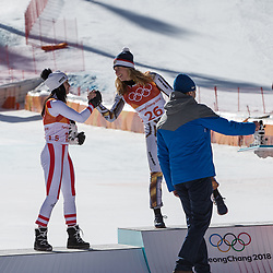 February 17, 2018 - Pyeongchang, South Korea - (L-R) Silver medal winner ANNA VEITH of Austria, is congratulated by gold medal winner ESTER LEDECKA of Czech Republic during the venue podium ceremony for Alpine Skiing: Ladies' Super-G at Jeongseon Alpine Centre during the 2018 Pyeongchang Winter Olympic Games. (Credit Image: © Daniel A. Anderson via ZUMA Wire)