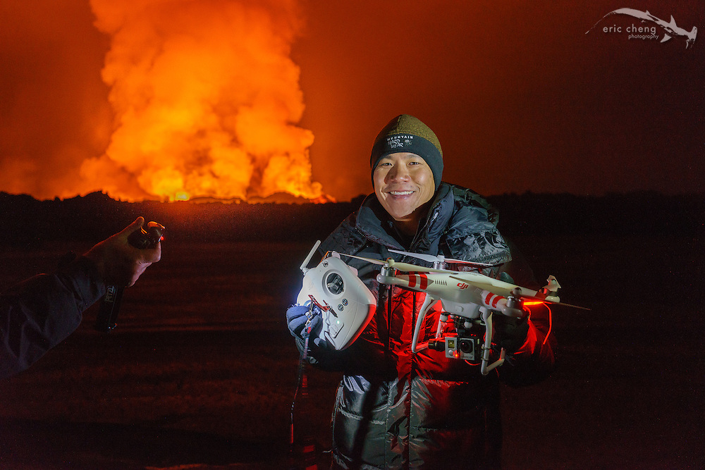 PHOTO CREDIT: RAGNAR SIGURDSSON. Eric Cheng, retrieving a DJI Phantom 2 at the Holuhraun volcano eruption, Bardarbunga volcanic system, Iceland. The GoPro camera melted in the intense heat during the flight, and the Phantom returned to launch point using the built-in Return-To-Home feature.