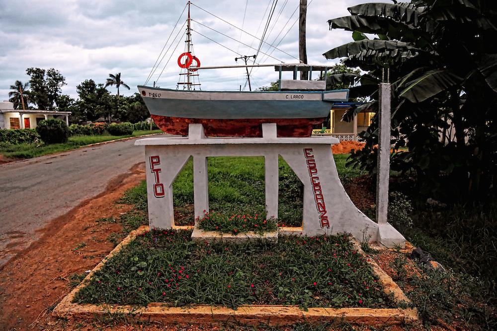 Town entry sign in Puerto Esperanza, Pinar del Rio, Cuba.