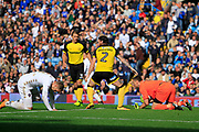 Burton Albion goalkeeper Stephen Bywater (1) saves from Leeds United striker Pierre-Michel Lasogga (9) during the EFL Sky Bet Championship match between Leeds United and Burton Albion at Elland Road, Leeds, England on 9 September 2017. Photo by Richard Holmes.