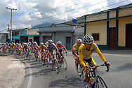 Overall leader Manuel Medina, riding for the  Government of Zulia, leads competitors in stage five of the annual Vuelta al Tachira cycling race in Merida, Venezuela on Wednesday, Jan. 9, 2008. Local and international teams will ride over 1580 kilometers and climb a 1500 meter altitude differential throughout the competition. The grueling, 13-stage race through the Andes mountains is hailed as the premier cycling event in South America.