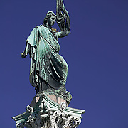 South America, Uruguay, Canelones, Montevideo, downtown, statue on pillar