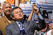 25 JUNE 2012 - PHOENIX, AZ:   DANIEL ORTEGA, an immigration attorney in Phoenix, AZ, speaks out in support of the US Supreme Court's decision to overturn most of SB1070 Monday. Ortega was an opponent of the law. The case, US v. Arizona, determined whether or not Arizona's tough anti-immigration law, popularly known as SB1070 was constitutional. The court struck down most of the law but left one section standing, the section authorizing local police agencies to check the immigration status of people they come into contact with.      PHOTO BY JACK KURTZ