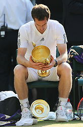 July 7, 2013 - London, England, United Kingdom - The lid of the trophy drops to the ground after Andy Murray  wins the Men's Final at the Wimbledon Tennis Championships in  London, Sunday, 7th July 2013.(Credit Image: © Stephen Lock/i-Images via ZUMA Press)
