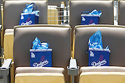 LOS ANGELES - MAY 30:  Dodgers gift bags await VIP fans during the game between the Colorado Rockies and the Los Angeles Dodgers on Monday, May 30, 2011 at Dodger Stadium in Los Angeles, California. The Dodgers won the game 7-1. (Photo by Paul Spinelli/MLB Photos via Getty Images) *** Local Caption *** PLAYER1;PLAYER2