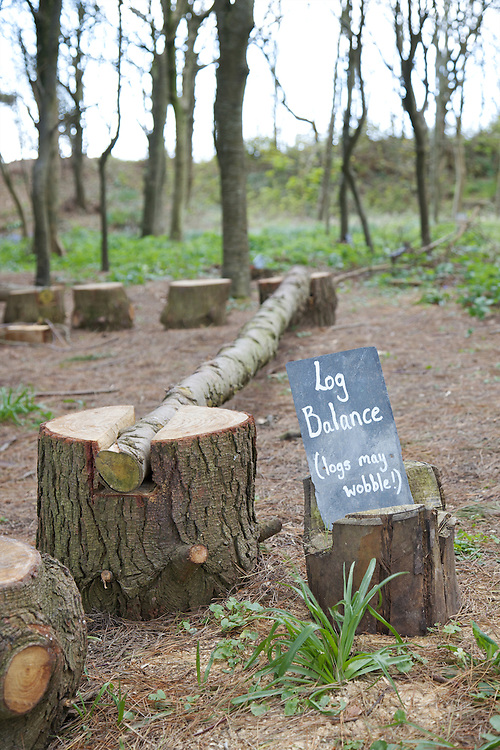 Log Balance in the woods next to Pickwell Manor, Georgeham, North Devon, UK.<br /> CREDIT: Vanessa Berberian for The Wall Street Journal<br /> HOUSESHARE