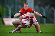 Leinster Club IFC Quarter Final at Pairc Tailteann, Navan, 2nd November 2014<br /> Ballinlough vs Raheen (Offaly)<br /> Brian Crombie (Raheen, Offaly) & Kevin Devine (Ballinlough)<br /> Photo: David Mullen / www.cyberimages.net © 2014