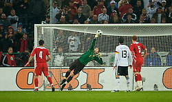 MONCHENGLADBACH, GERMANY - Wednesday, October 15, 2008: Wales' goalkeeper Wayne Hennessey is beaten by Germany's Piotr Trochowski for the only goal of the game during the 2010 FIFA World Cup South Africa Qualifying Group 4 match at the Borussia-Park Stadium. (Photo by David Rawcliffe/Propaganda)