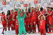 The whole FcBAYERN team celebrates with the trophy, Arjen ROBBEN, Manuel NEUER, RAFINHA, Franck RIBERY, 4 Niklas S&Uuml;LE, Suele, 5 Mats HUMMELS, 6 Thiago Alc&aacute;ntara, Alcantara, 9 Robert Lewandowski, 18 Leon GORETZKA, 22 Serge GNABRY, 19 Alphonso DAVIES, 25 Thomas M&uuml;ller, Mueller, 27 David Alaba, 29 Kingsley COMAN, 32 Joshua Kimmich, 35 Renato SANCHES,<br /> MUNICH, 18. MAY 2019,  Fc BAYERN vs Eintracht FRANKFURT, 5:1 - Bundesliga Football Match, <br /> FcBayern Muenchen vs Eintracht FRANKFURT Bundesliga match at Allianz Arena on 18.05.2019, DFL REGULATIONS PROHIBIT ANY USE OF PHOTOGRAPHS AS IMAGE SEQUENCES AND/OR QUASI-VIDEO - fee liable image, <br /> copyright &copy; ATP / Arthur THILL
