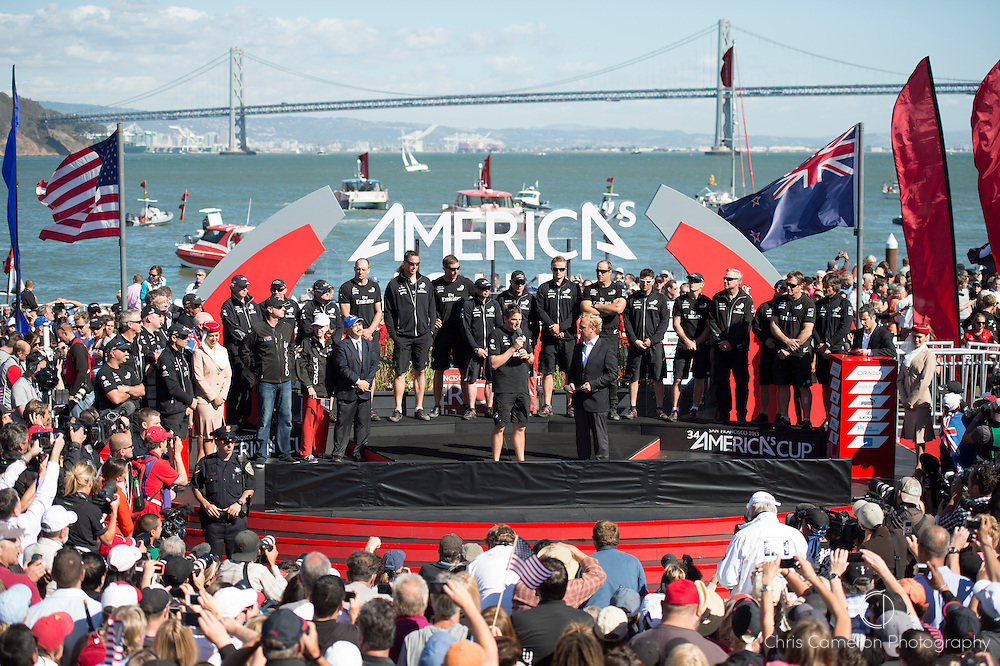 Emirates Team New Zealand sailors on stage at the Cup presentation after losing the final race of the America's Cup 34. 25/9/2013