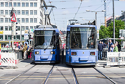 May 1, 2019 - Munich, Bavaria, Germany - Two Munich trams stopped at the Sendlinger Tor construction zone. (Credit Image: © Sachelle Babbar/ZUMA Wire)