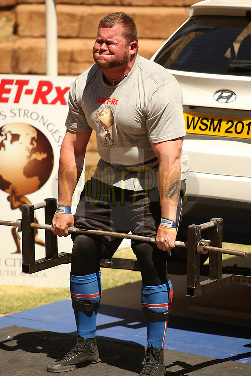 Stefan Solvi Peturssen (Iceland) gives it his all in the deadlift (for reps) during the final rounds of the World's Strongest Man competition held in Sun City, South Africa.